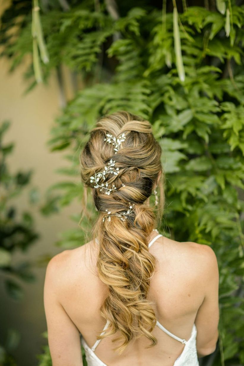 loose braided wedding updo for long hair