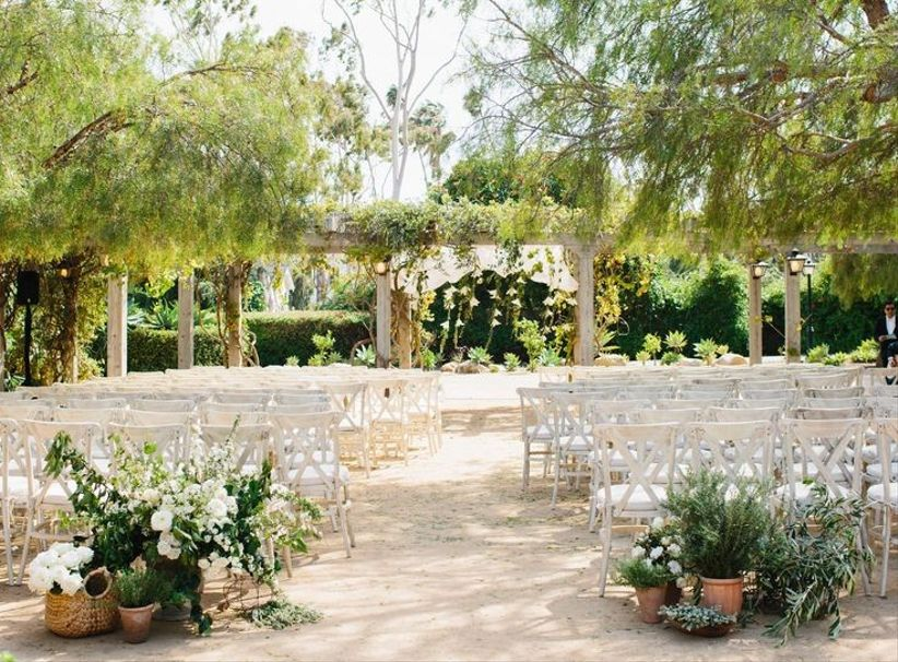 Santa Barbara historical museum outdoor wedding venue underneath shaded trees