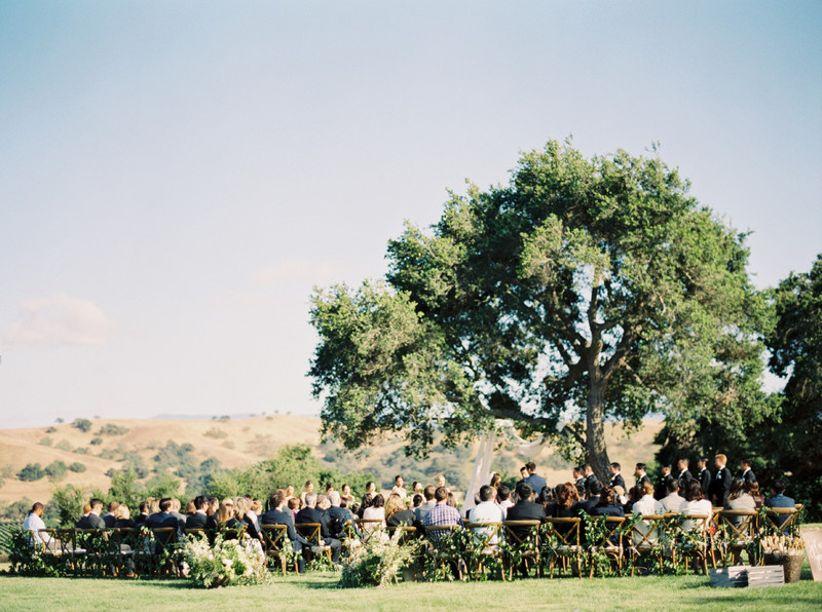 outdoor wedding ceremony at vineyard venue in Santa Barbara