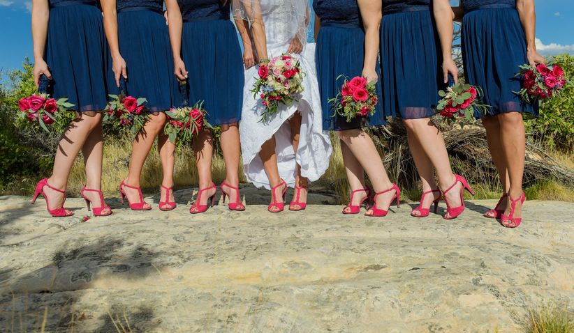 bridesmaid red shoes
