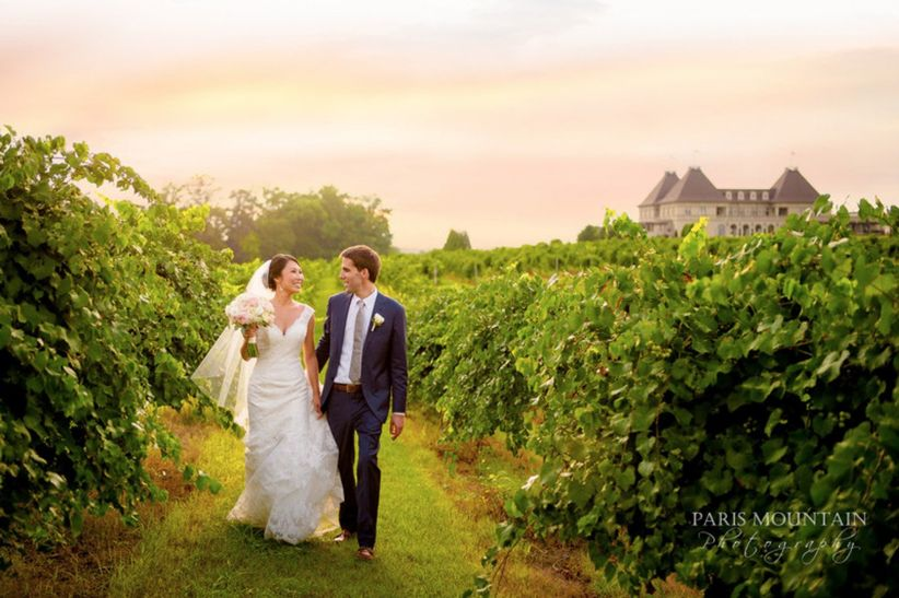 wedding couple at chateau elan winery