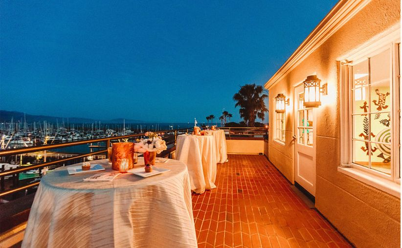 outdoor wedding reception on the waterfront patio at the Santa Barbara Maritime Museum