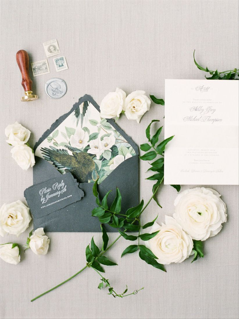green, white and gray wedding invitations with floral envelope liner