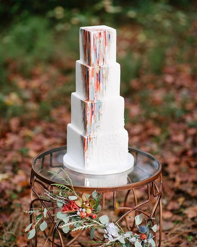 four tier fondant square wedding cake with watercolor details