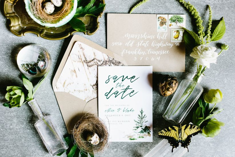 nature-inspired wedding invitations with green and white color scheme