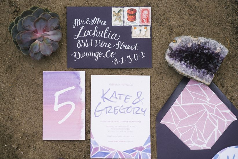 modern bohemian wedding invitations with purple watercolor geode and triangle pattern