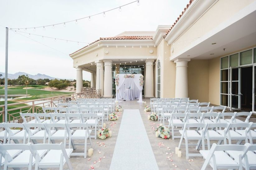 outdoor wedding ceremony on patio at Las Vegas country club
