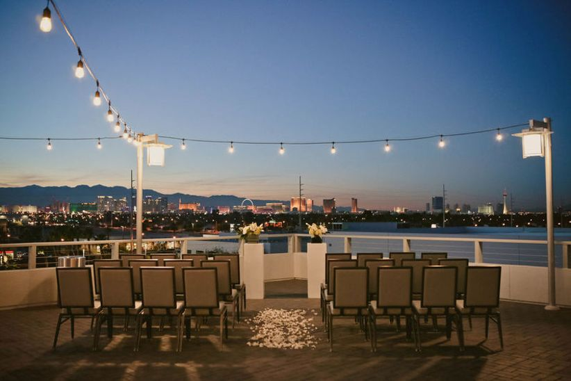 rooftop wedding ceremony overlooking Las Vegas skyline