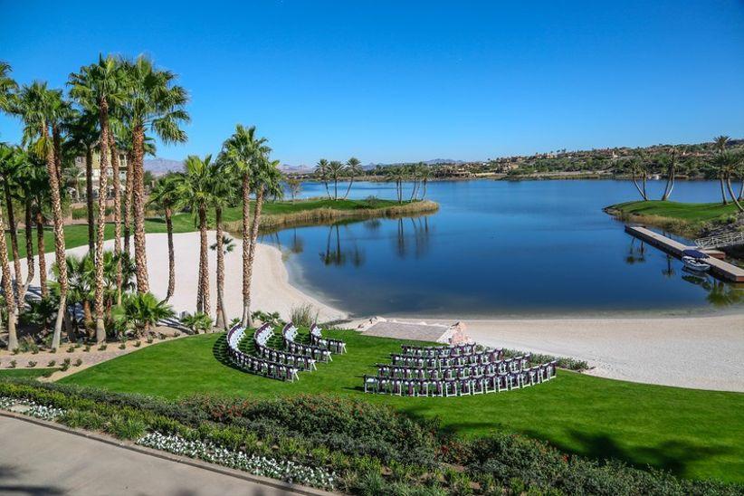 waterfront wedding ceremony overlooking lake at Las Vegas golf resort