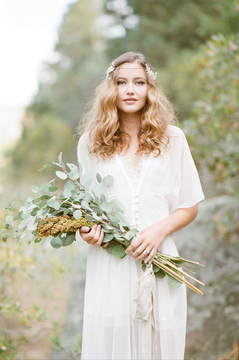 long-stem bohemian wedding bouquet with eucalyptus