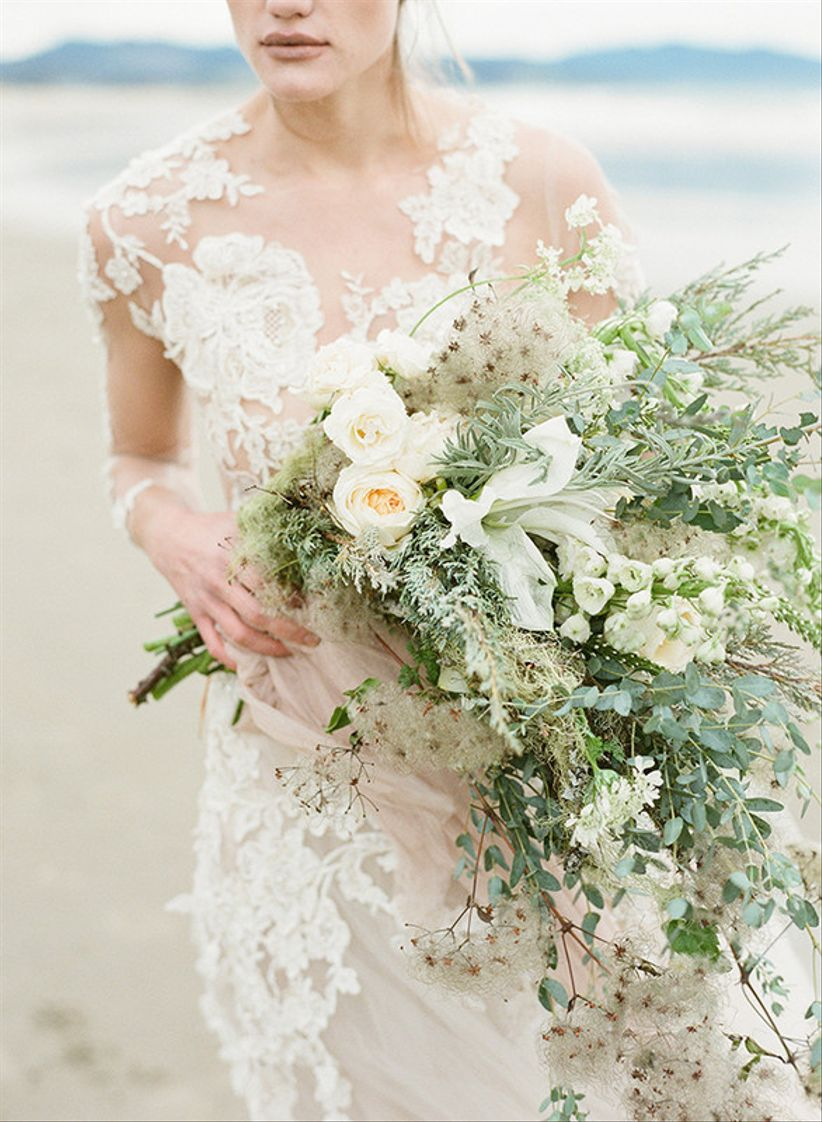 oversized wedding bouquet with green and white flowers