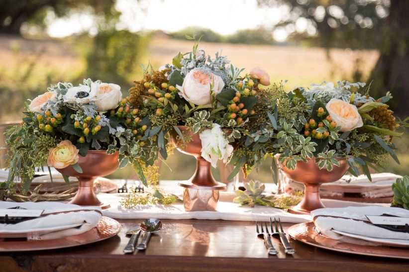 rustic chic wedding centerpiece with copper compotes