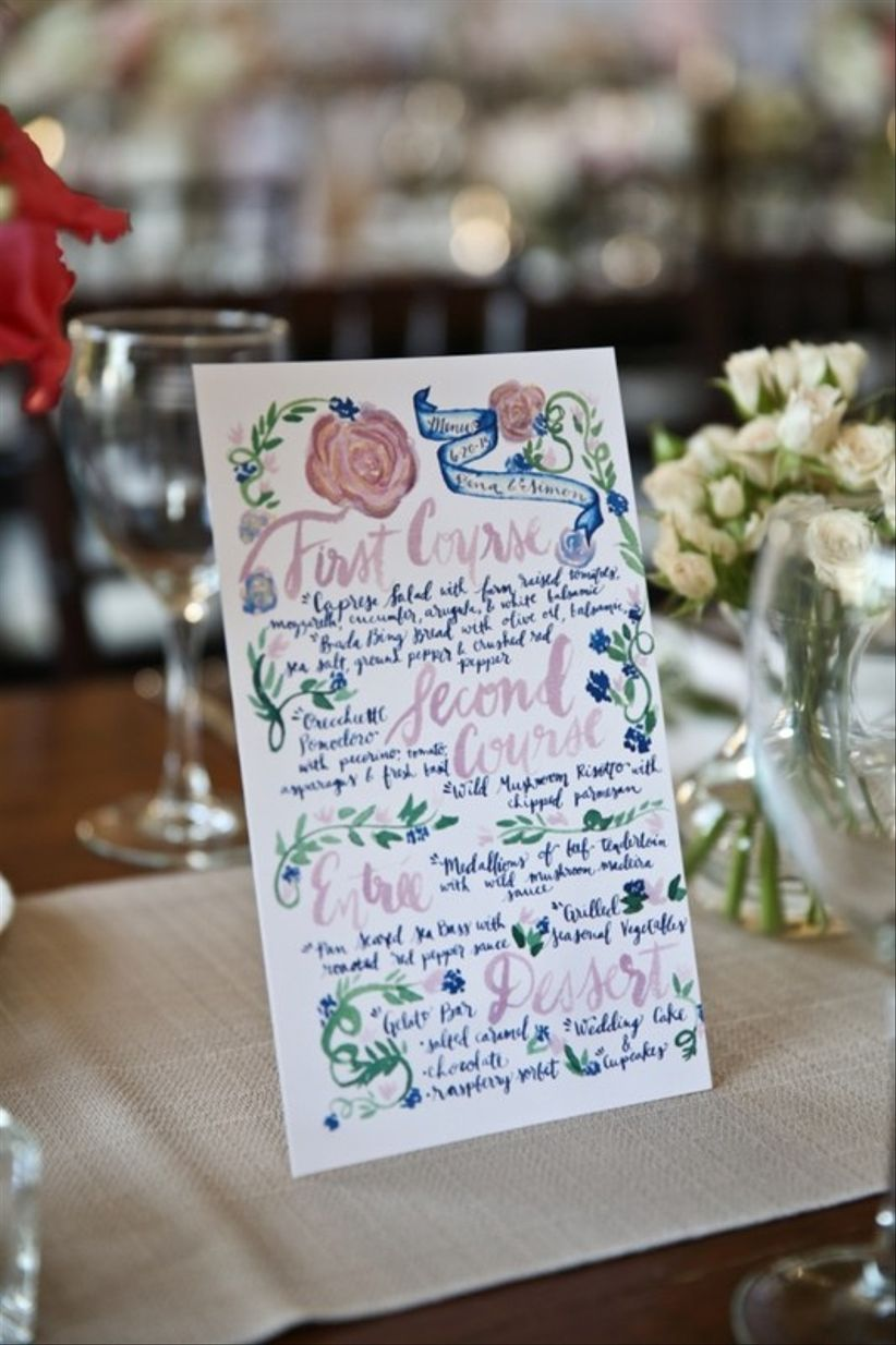 custom wedding menu sign with watercolor calligraphy