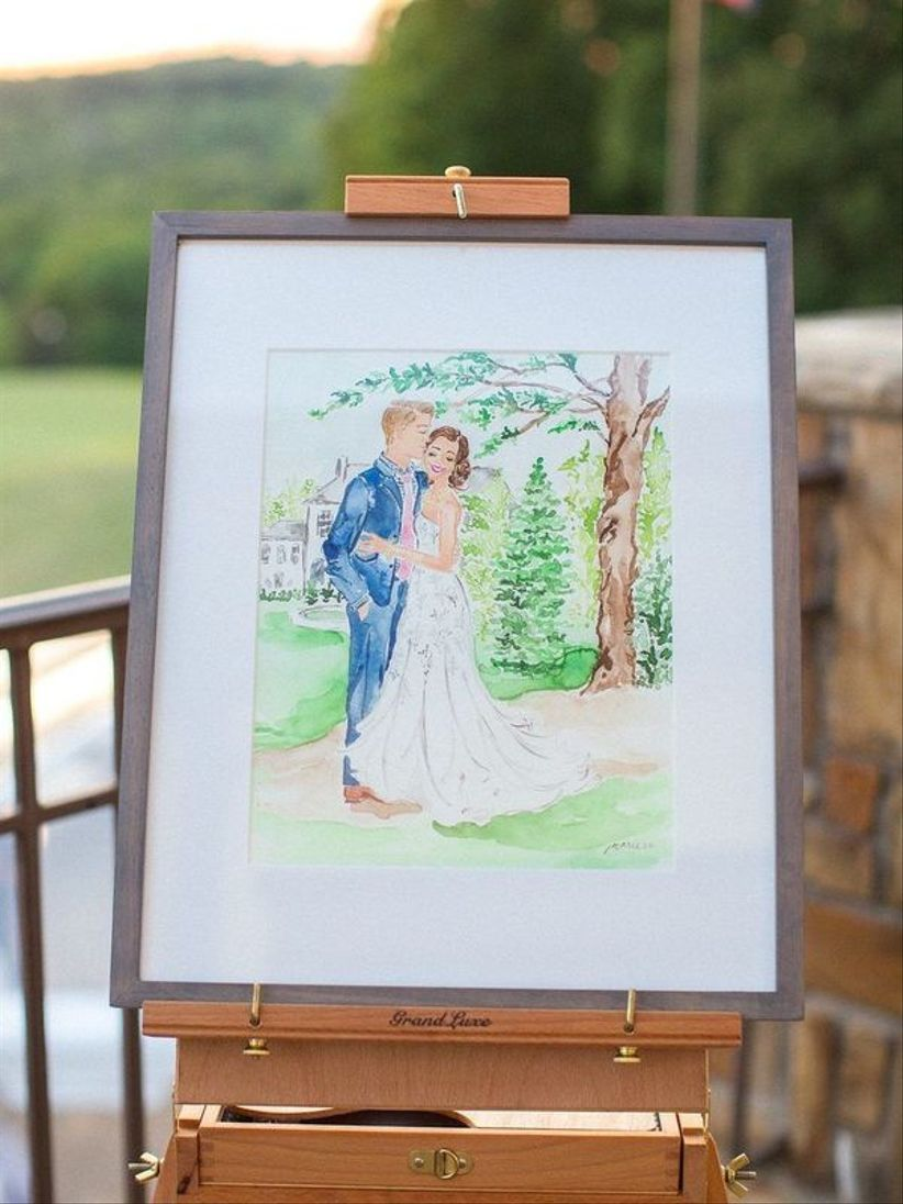 watercolor sketch of bride and groom at wedding reception