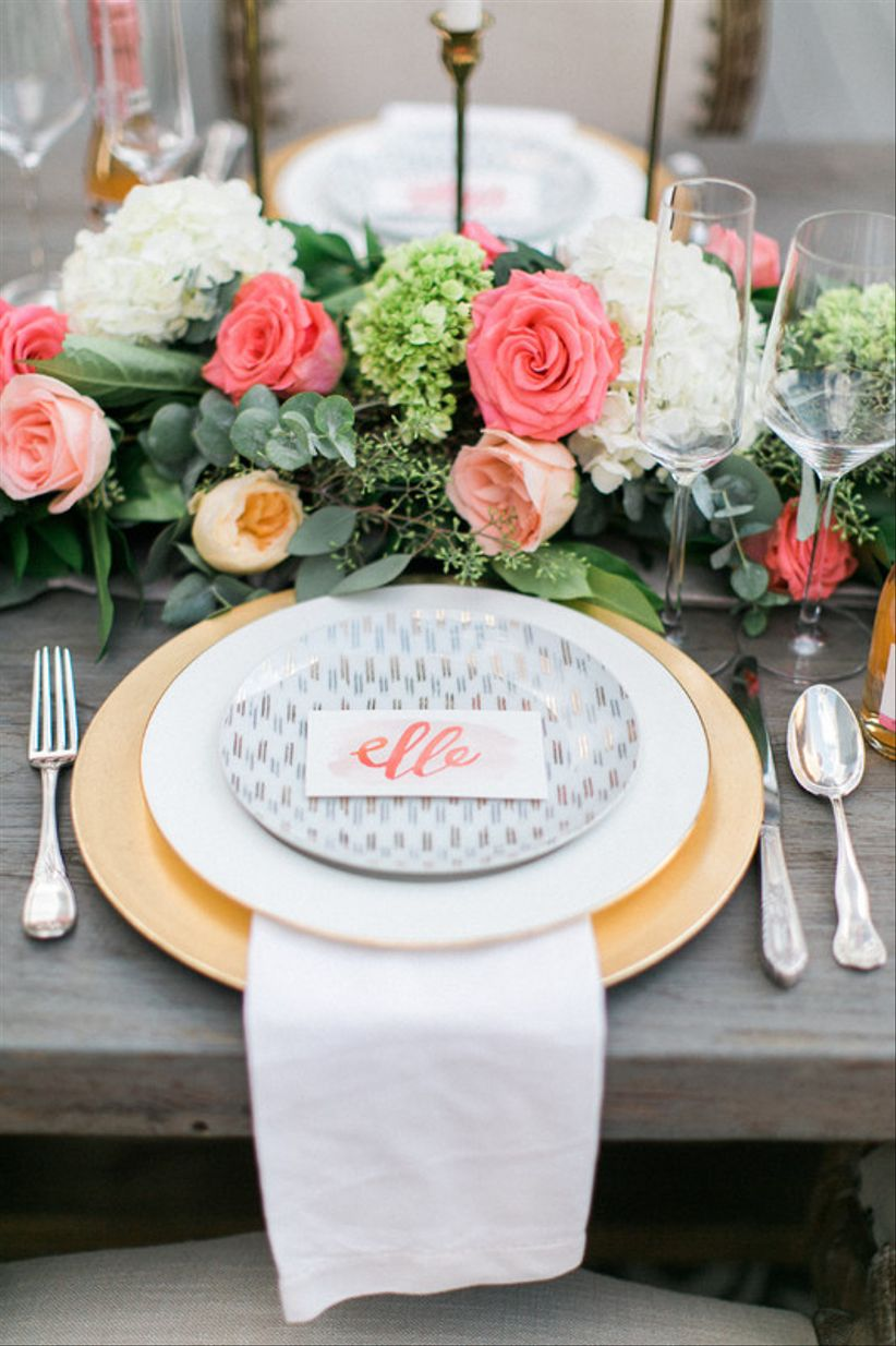 wedding place card with gray and coral watercolor calligraphy
