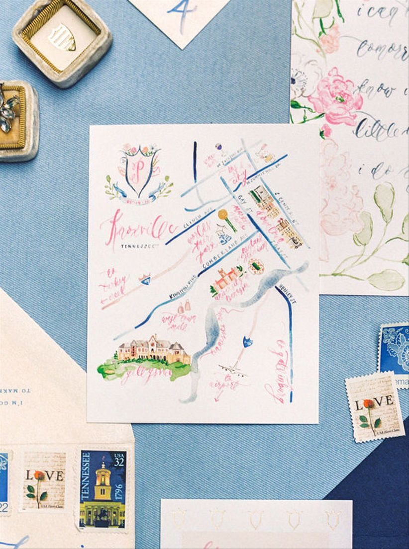 custom watercolor wedding illustration with a map of the wedding venue and nearby streets