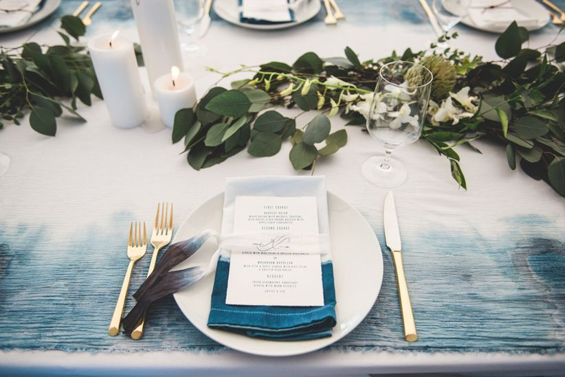 blue dip dye and watercolor table linens for boho chic wedding reception
