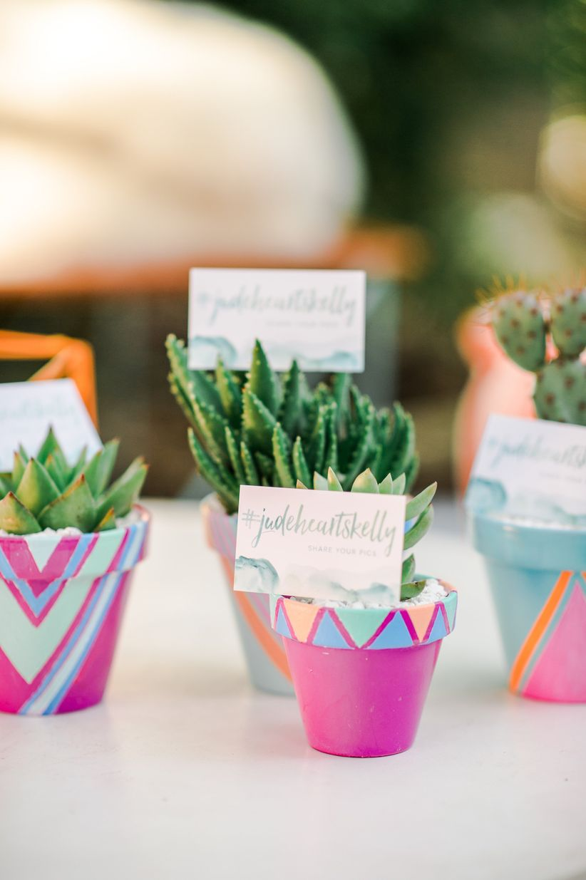potted succulent wedding favors with wedding hashtag cards and watercolor calligraphy