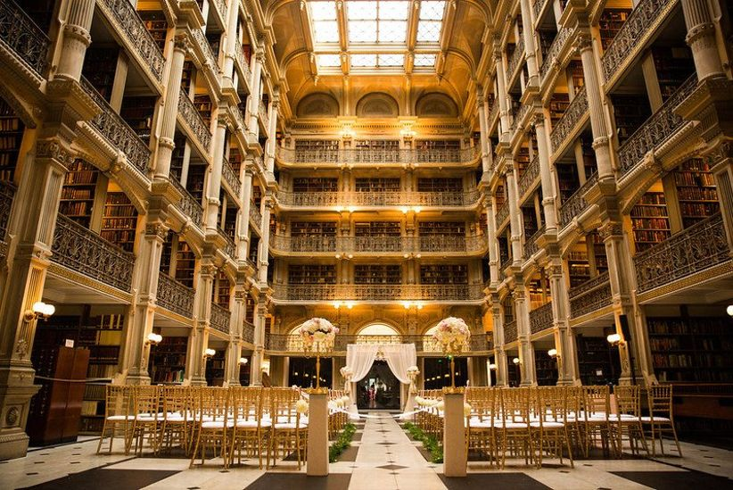 wedding ceremony set up at historic George Peabody Library venue in Baltimore