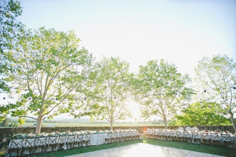 outdoor reception at winery wedding venue in Sonoma California