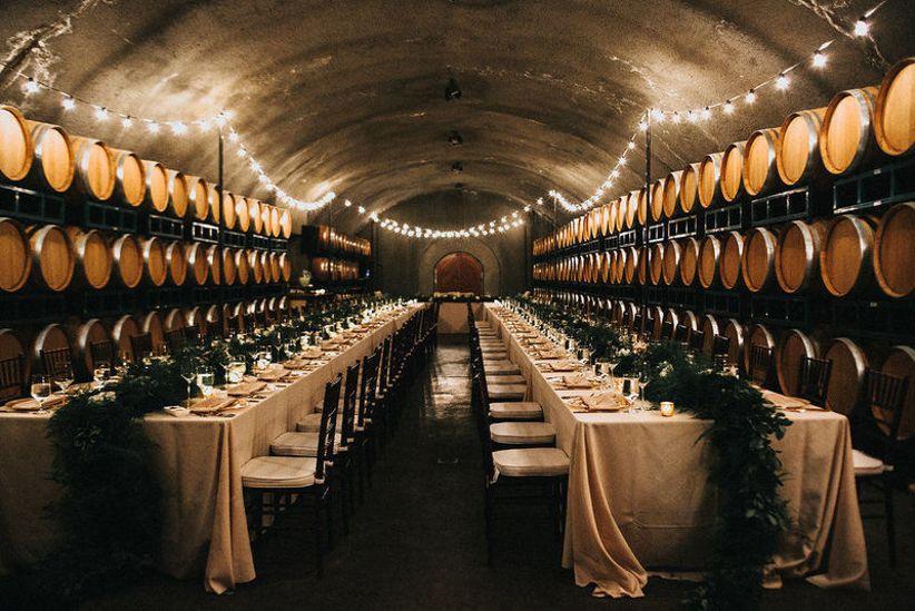 wine cellar at vineyard wedding venue in Sonoma California