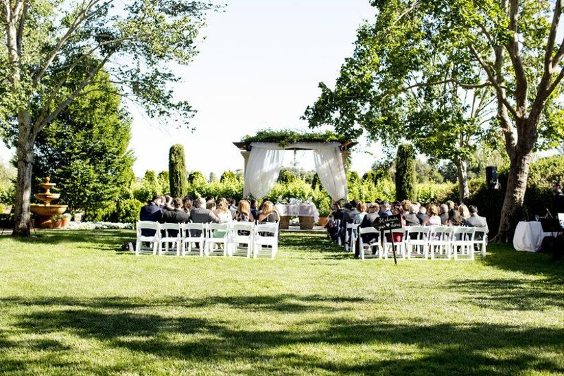 outdoor garden ceremony at winery wedding venue in Sonoma California