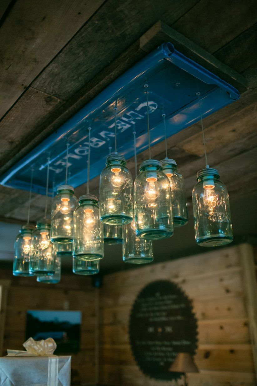 rustic chic chandelier with mason jars for barn wedding decor