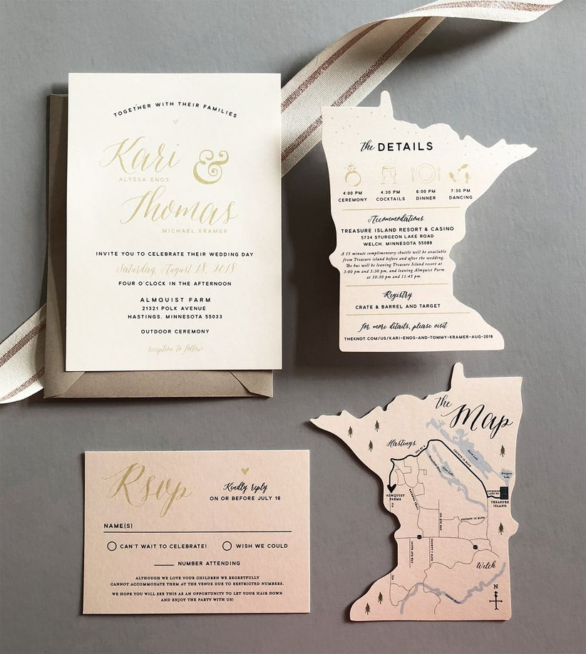 0dd1c25ee7590 The Wedding Invitation Trends 2019 Couples Must See - WeddingWire