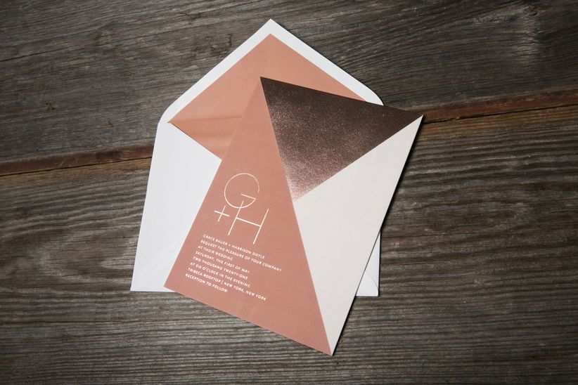 mixed metallic wedding invitation