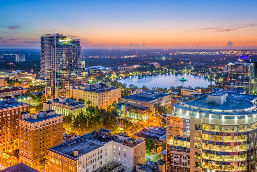 orlando florida city scape at night