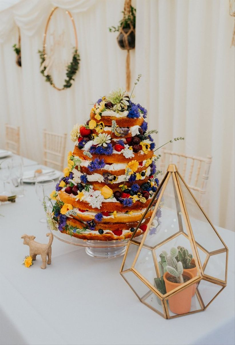 colorful naked wedding cake