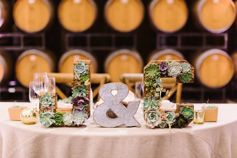 succulent letters wedding table