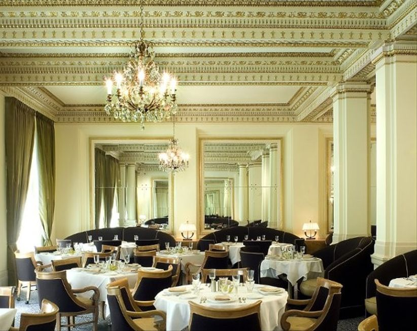 classic wedding venue with chandeliers and ornate ceilings