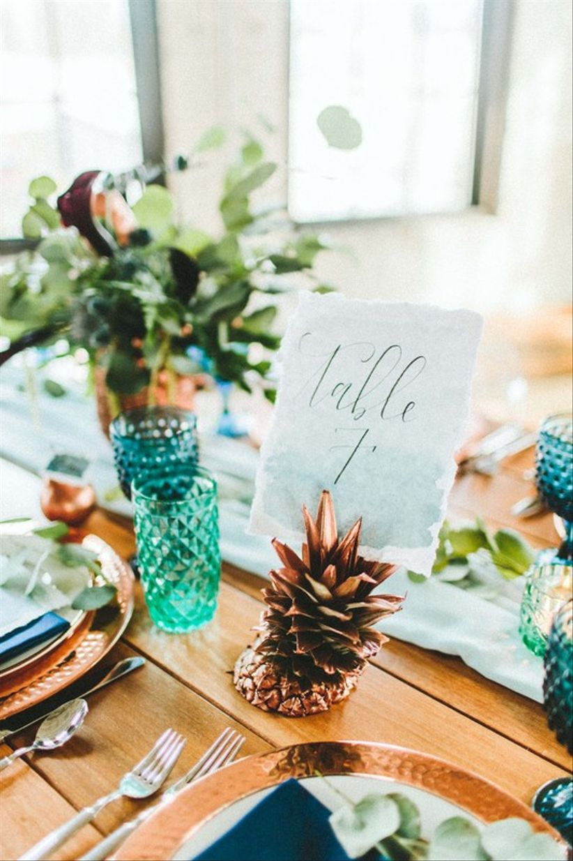 rose gold pineapple wedding table number holder