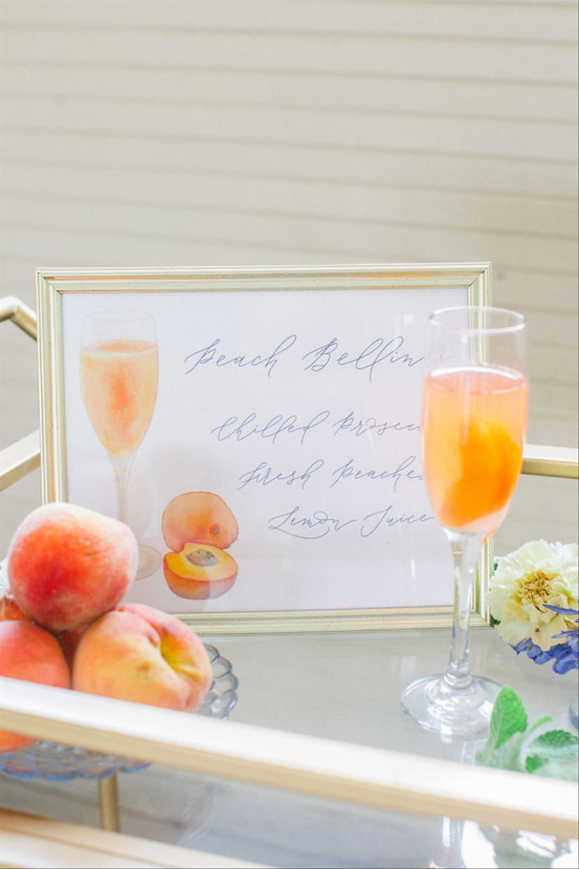 peach bellini as wedding signature cocktail