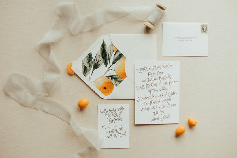 modern wedding invitations with citrus patterned envelope liner