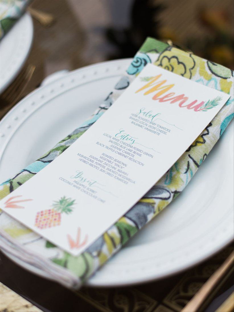 watercolor wedding menu card with rainbow color palette