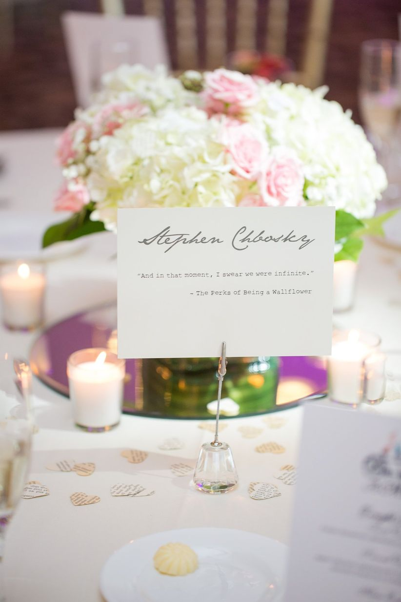 13 creative wedding table name ideas for the non traditional couple here are 13 of our favorite wedding table name ideas junglespirit Image collections