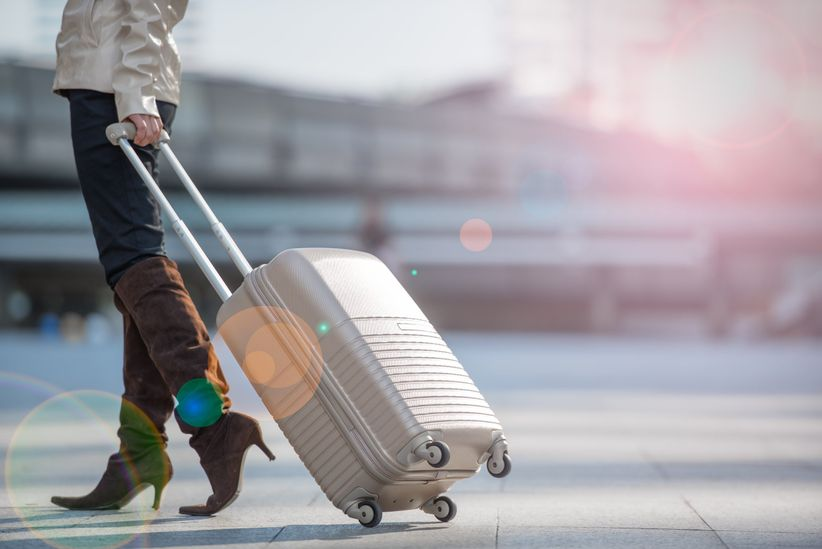 woman traveling suitcase