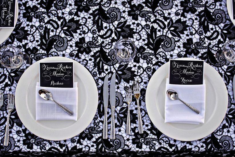 black lace wedding table linens