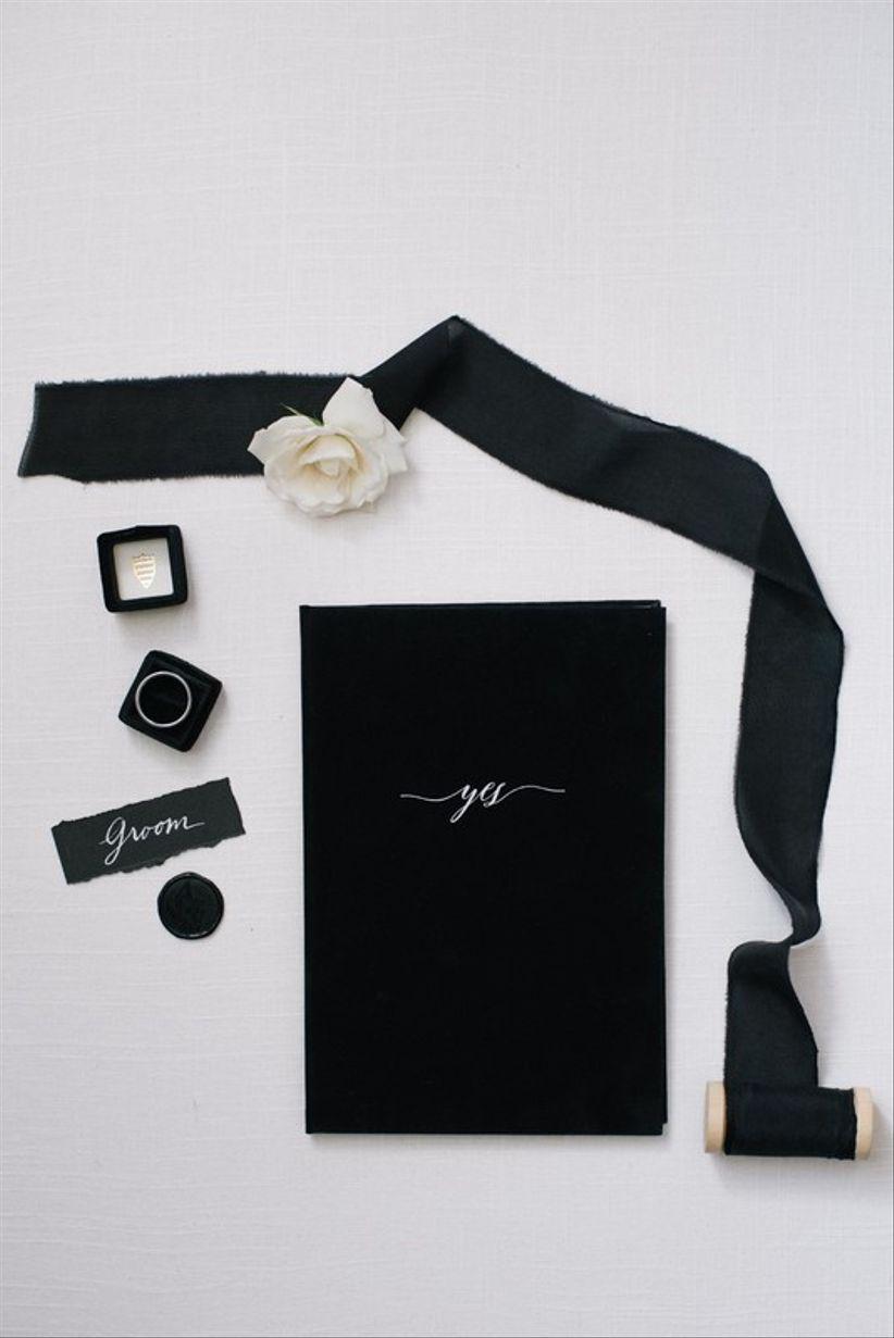 black velvet wedding vow book