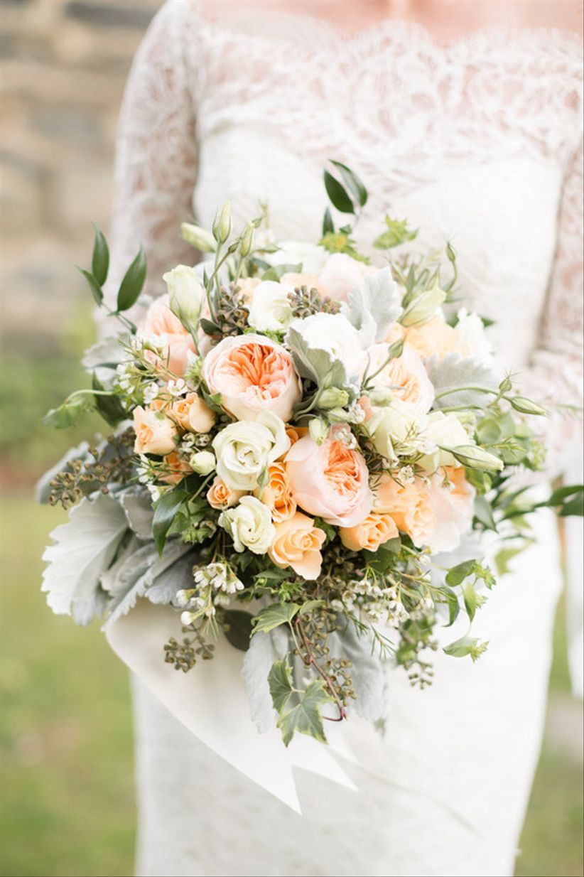 wedding bouquet with Juliet garden roses and greenery