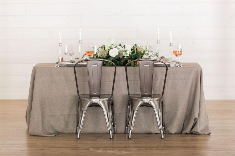 industrial marais chairs rustic modern wedding tablescape