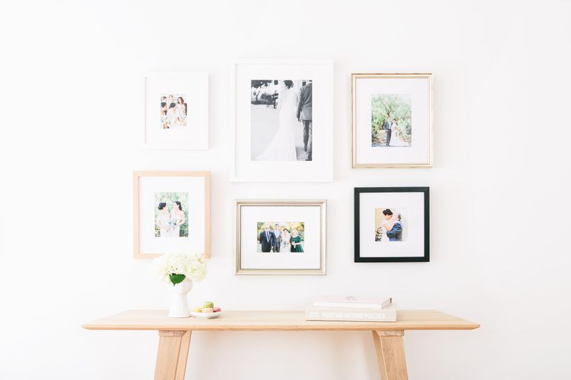 gallery wall with wedding photos