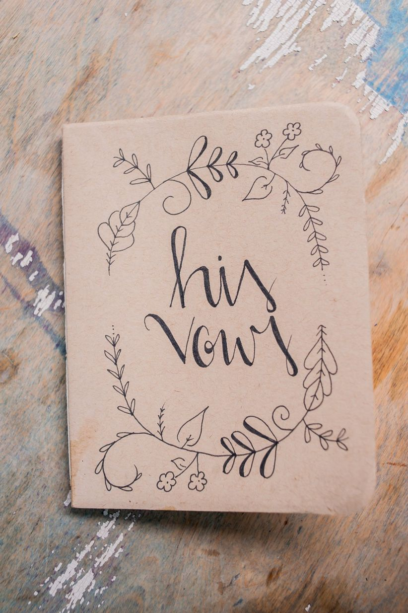 brown vow notebook for groom with calligraphy
