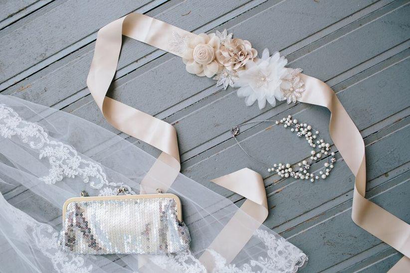 blush satin wedding dress sash with flowers