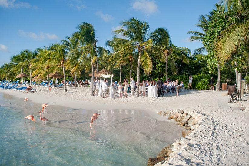 couple marrying on aruba beach