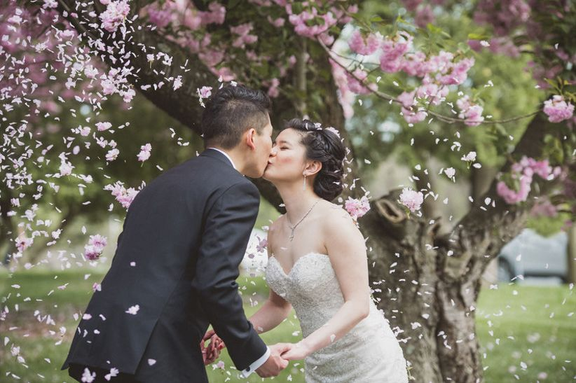 couple covered with cherry blossoms