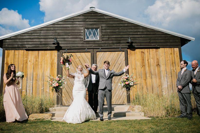 just married couple barn wedding