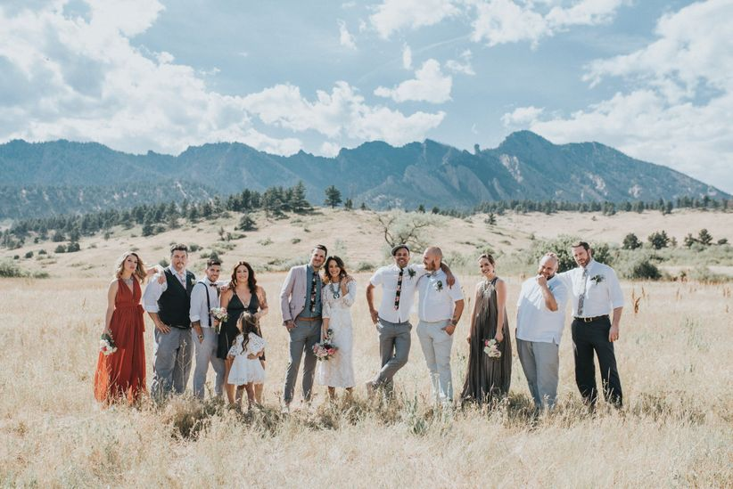 wedding party with mountain backdrop